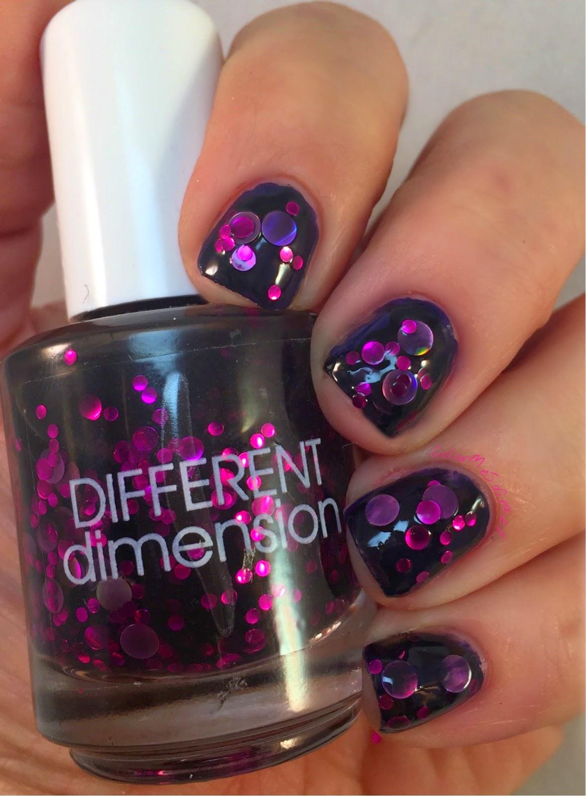 different dimension-orion nebula- indie polish- jelly polish with circles