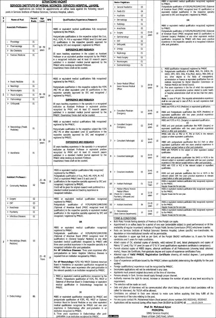 Services Institute Of Medical Science Service Hospital Lahore jobs 2019