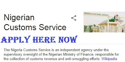 Nigeria Customs Service Recruitment 2018/2019 | Apply Here Online