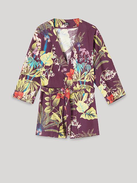 kimono a fiori  in cotone di oltre