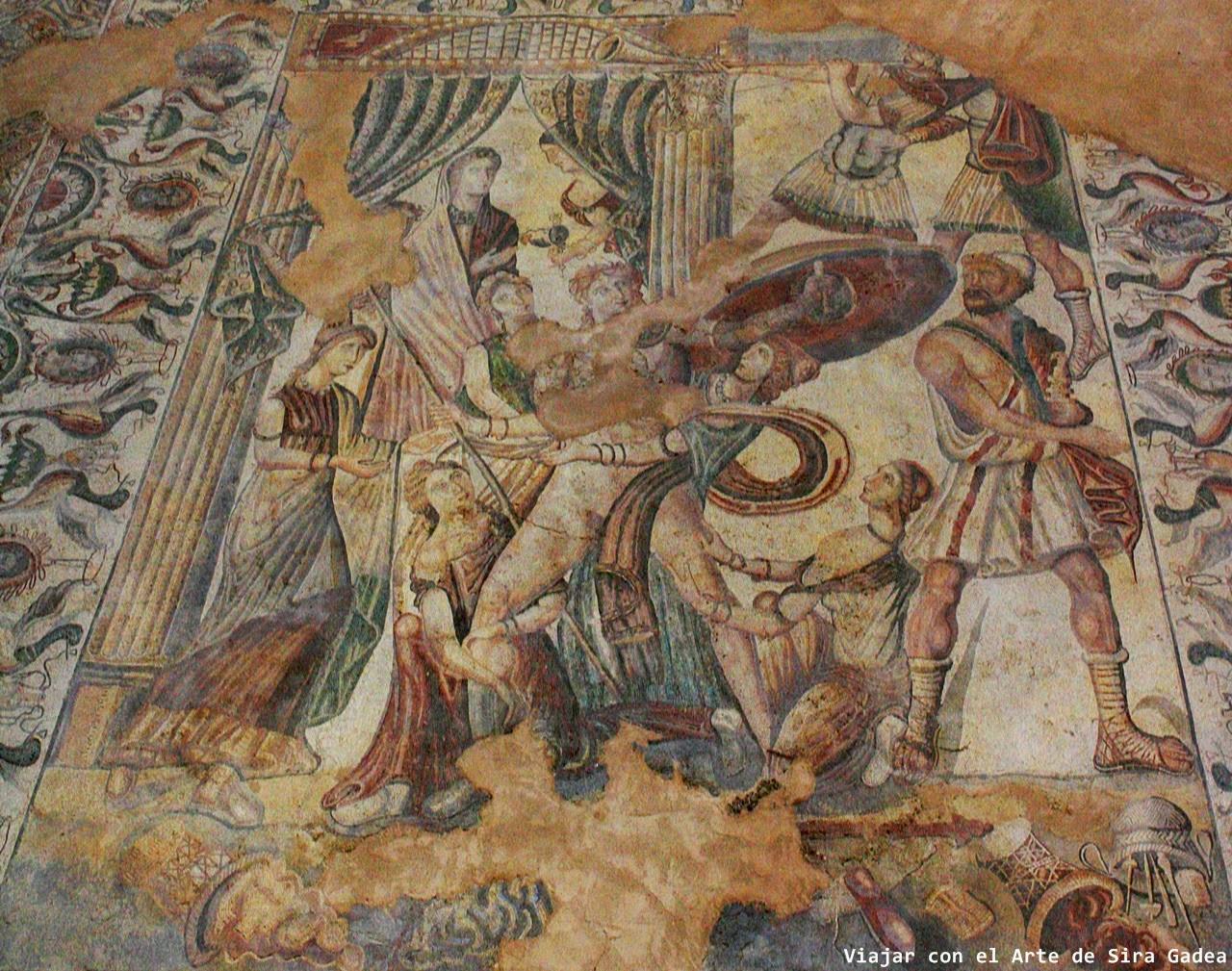 mosaico La Olmeda Aquiles en Skyros