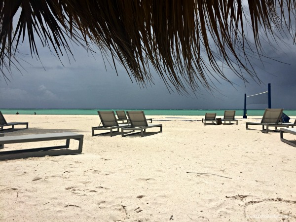 Beach view of rain approaching over the ocean in the Dominican Republic