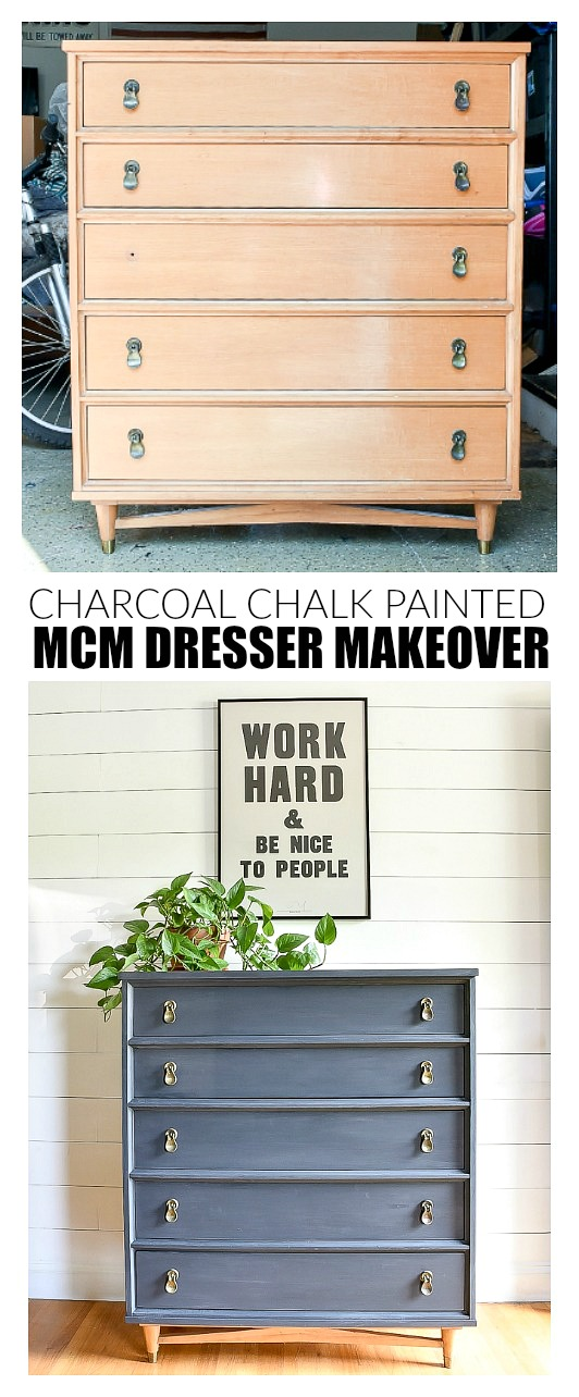 Before and After of vintage MCM dresser makeover