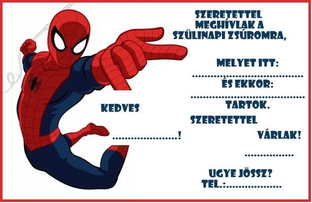 pókemberes szülinapi meghívó Zsúrda: Pókember zsúr meghívó sablon pókemberes szülinapi meghívó