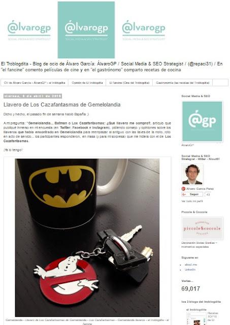 Lo + leído en el troblogdita - abril 2016 ÁlvaroGP - el troblogdita - el fancine - Gemelolandia - Llaveros en Gemelolandia - Batman - Los Cazafantasmas