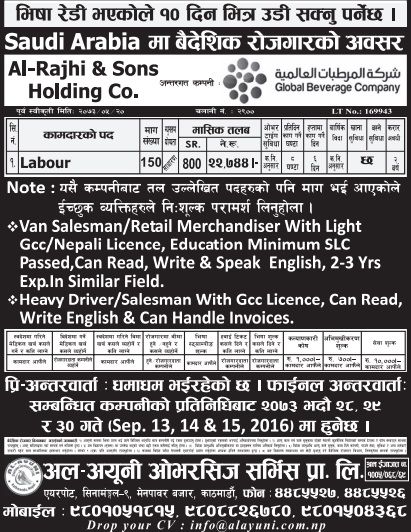 Free Visa, Free Ticket Jobs For Nepali In Saudi Arabia Salary- 22,744/