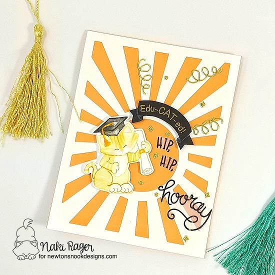 Graduation Card by Naki Rager | Newton's Graduation Stamp Set by Newton's Nook Designs #newtonsnook #handmade