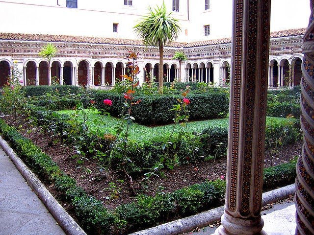 Peaceful garden still maintained by the monks of the St. Paul Monastery, Italy