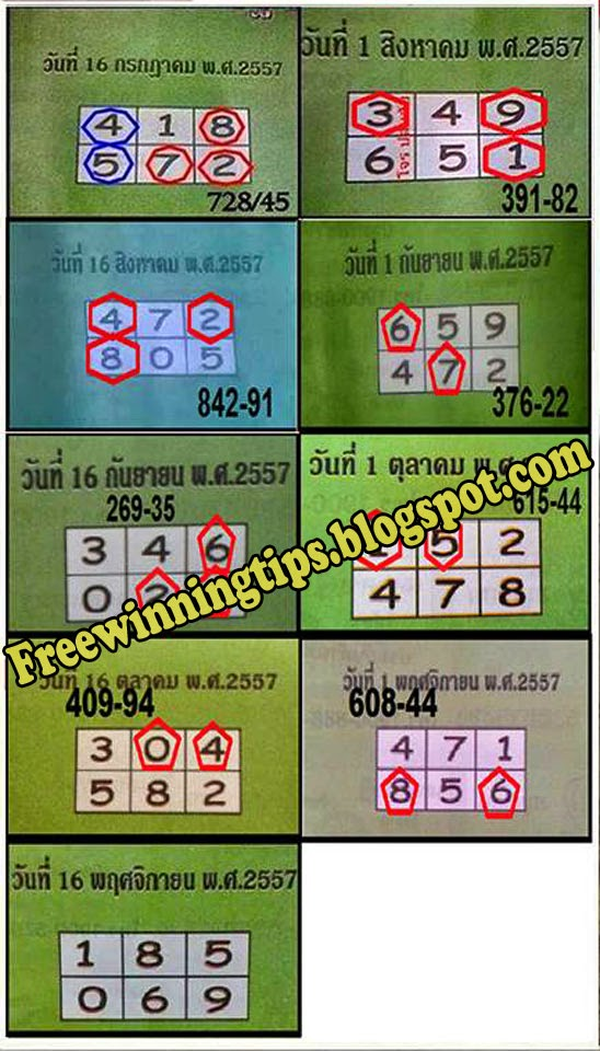 Thailottery Lotto Full game Tip Paper 16-11-2014