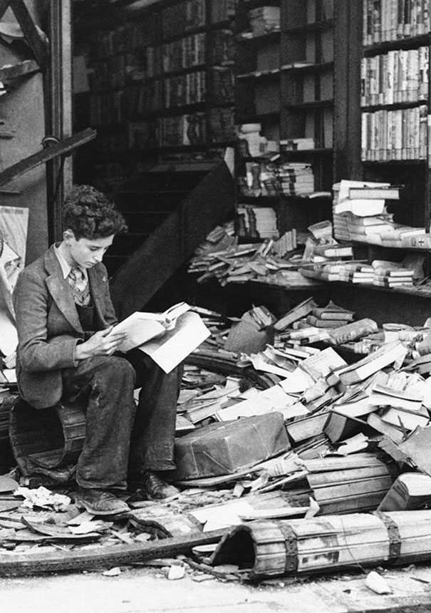 Bookstore in London ruined by an air raid, 1940