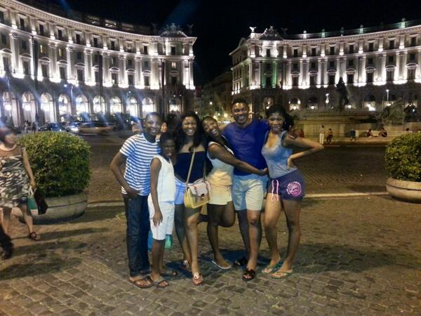 omotola jalade family in florence italy