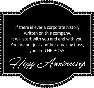 wedding anniversary wishes for a boss in English
