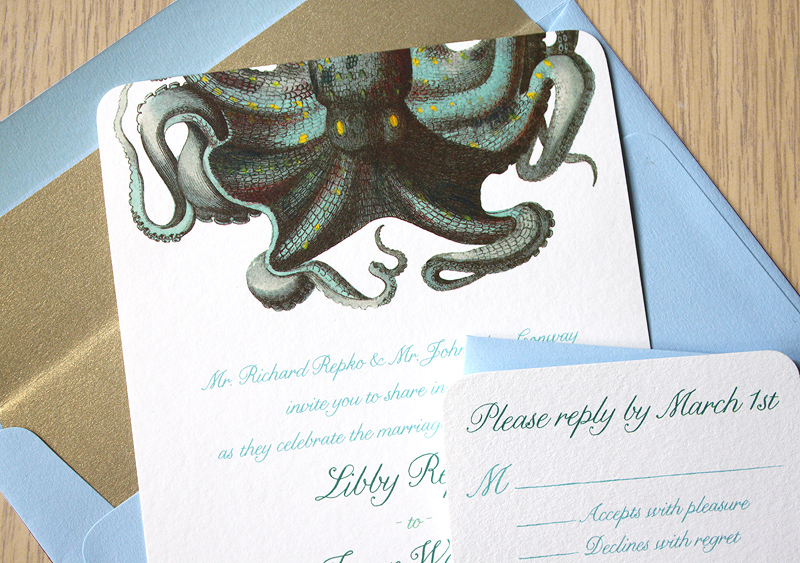 Octopus Wedding Invitation for an Aquarium Wedding from Concertina Press