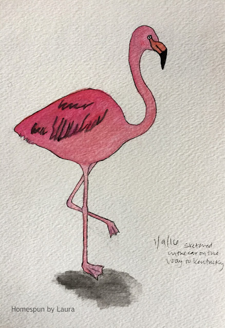 homespun by laura daily doodle flamingo watercolor