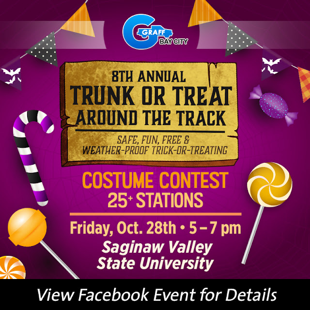 Kids Can Trick-or-Treat Safely at the 8th Annual SVSU Trunk-or-Treat Around The Track