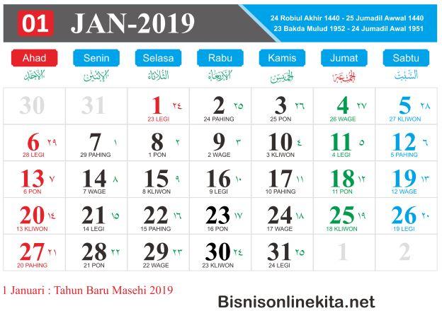 kalender 2019 januari