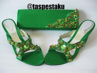 Handmade taspesta hijau botol mewah