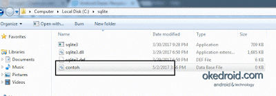 File tersimpan di folder sqlite komputer windows