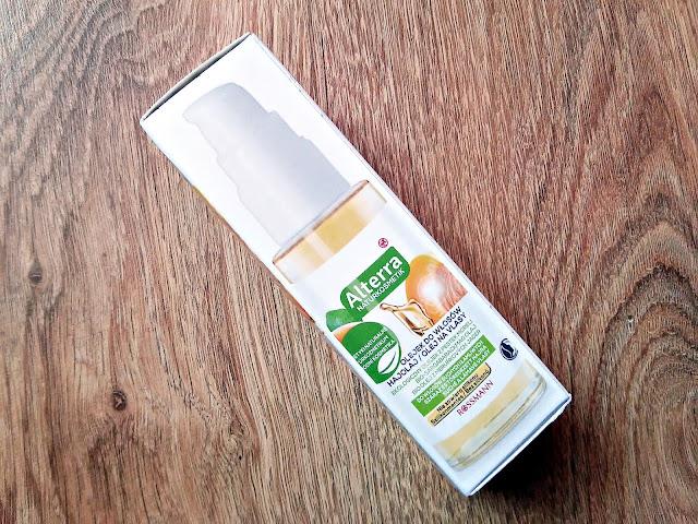 Alterra, Naturkosmetik - Olejek z pestek moreli do włosów suchych i łamliwych, opakowanie olejku