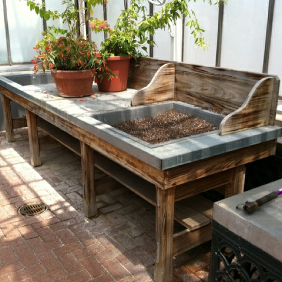 i love the style of this wide potting bench
