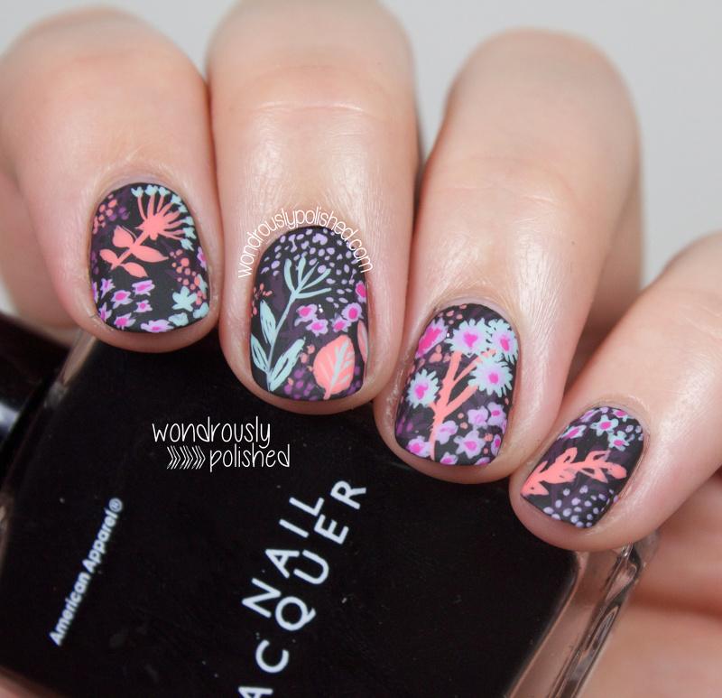 Wondrously Polished: Pattern Love - Black Base Floral