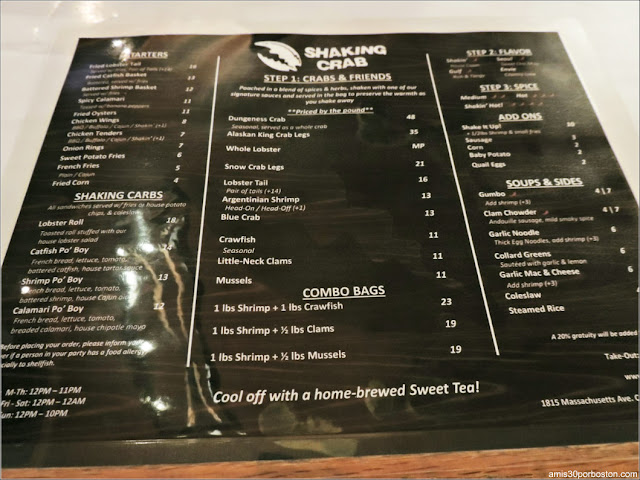 Carta del Shaking Crab de Porter Square en Cambridge