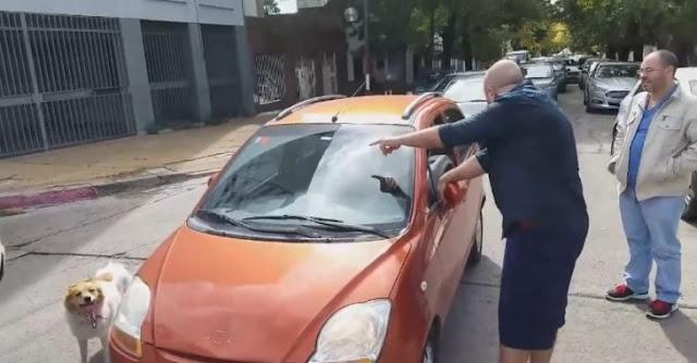 Héroe ayuda a perrito obligando a su dueña a subirlo al auto