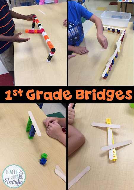 STEM Challenges and First Graders! This post will encourage you to try STEM Challenges with first graders as I describe the things the smallest engineers taught me. They love STEM and approach tasks with their own unique style. Examples are listed of our experience building bridges! Are you ready for STEM and Grade 1? Yes! #STEM