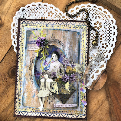 Sara Emily Barker Vintage Valentine Card  https://sarascloset1.blogspot.com/2019/01/the-music-of-my-heart-vintage-valentine.html Tim Holtz Sizzix Faceted Heart and Organic Stampers Anonymous Lattice & Flourish 1