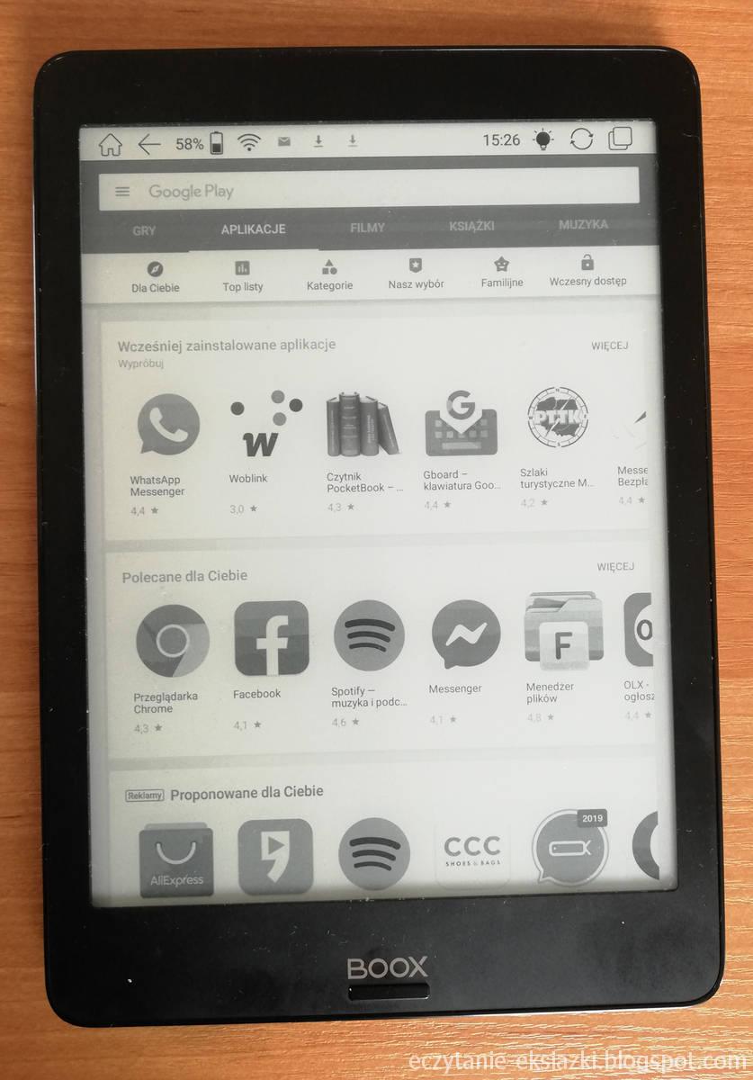 Aktywowany Google Play w Onyx Boox Nova