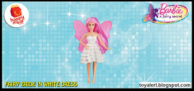 McDonalds Barbie A Fairy Secret happy meal toy 2011 Fairy Barbie in White Dress