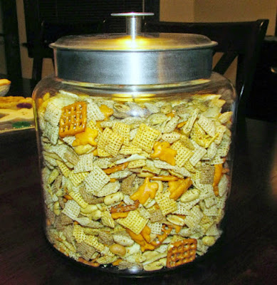 big glass jar filled with ranch snack mix