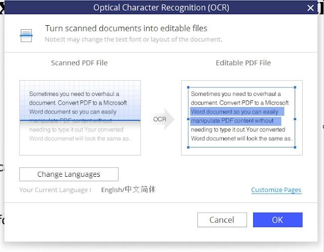 PDFElement OCR snapshot