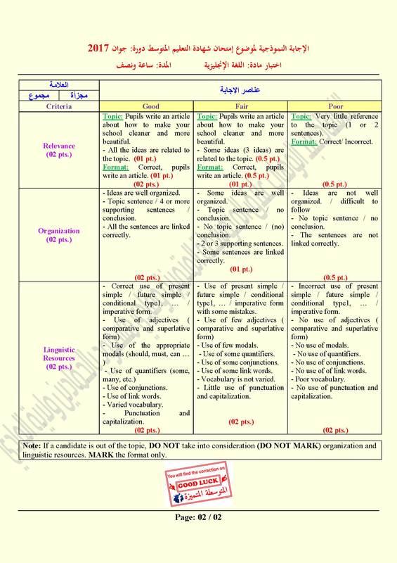 تصحيح موضوع اللغة الإنجليزية شهادة التعليم المتوسط 2017