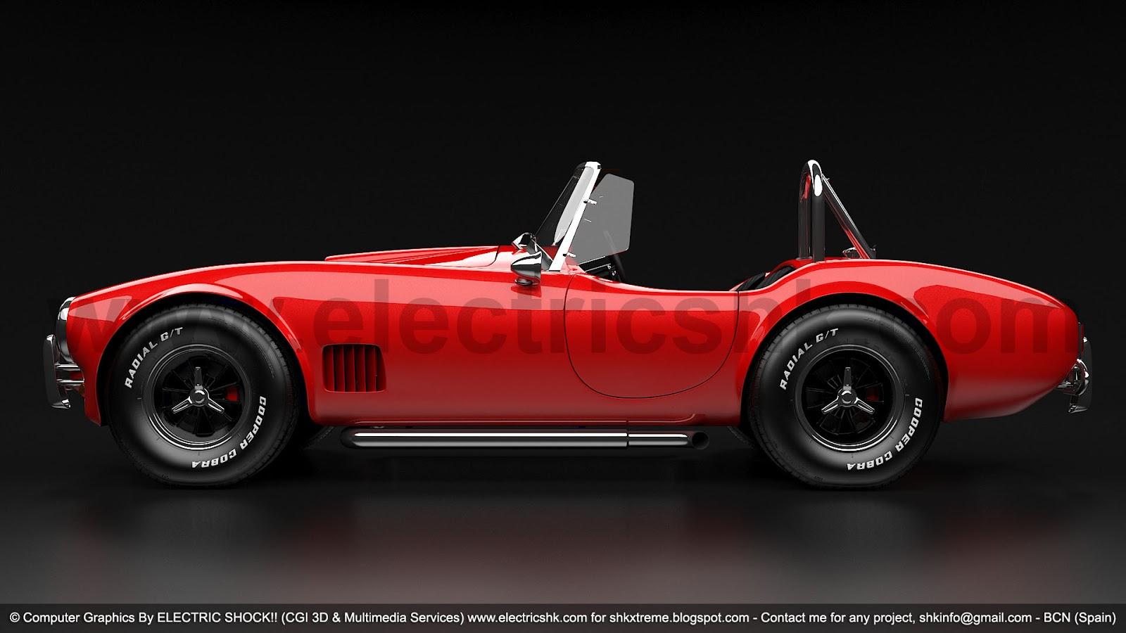 Shelby AC Cobra rojo vista completa lateral