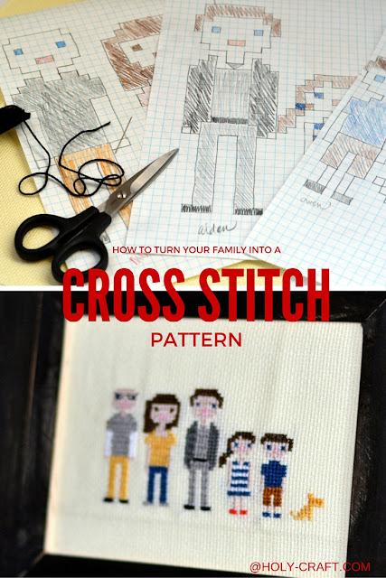 family cross stitch portrait