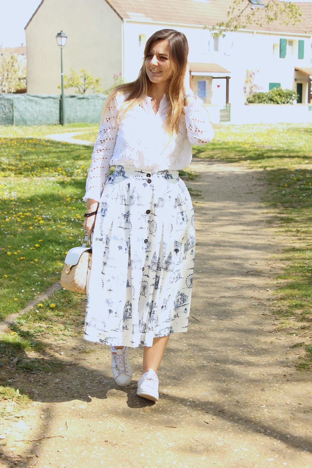 comment porter une jupe midi de manière casual, jupe maje, les petites bulles de ma vie