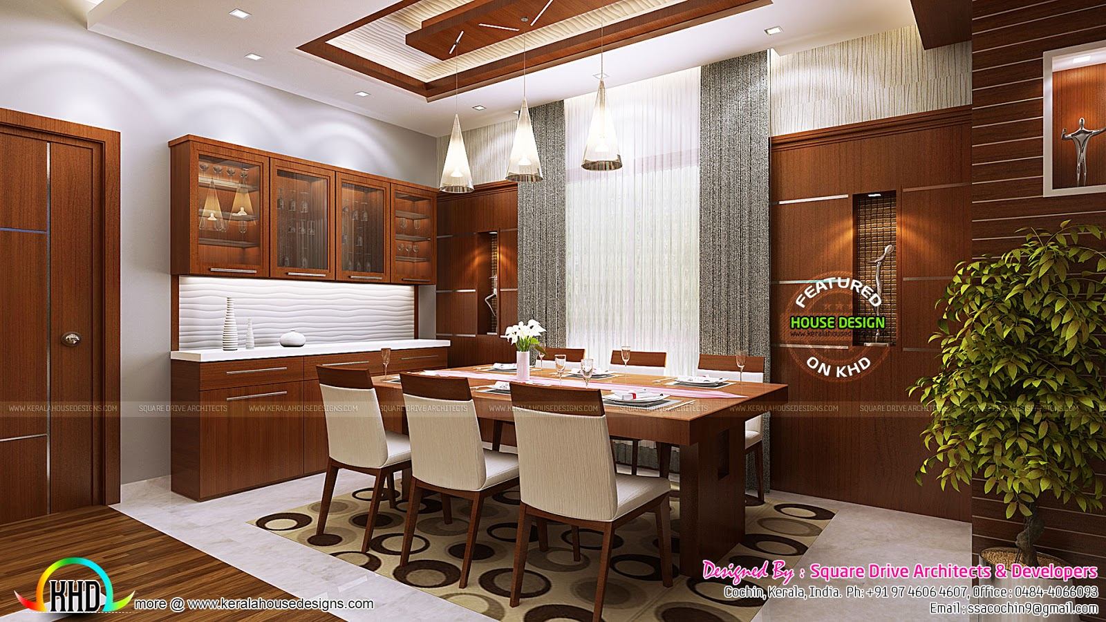 Kitchen and dining room interior ideas kerala home for Dining room designs in kerala