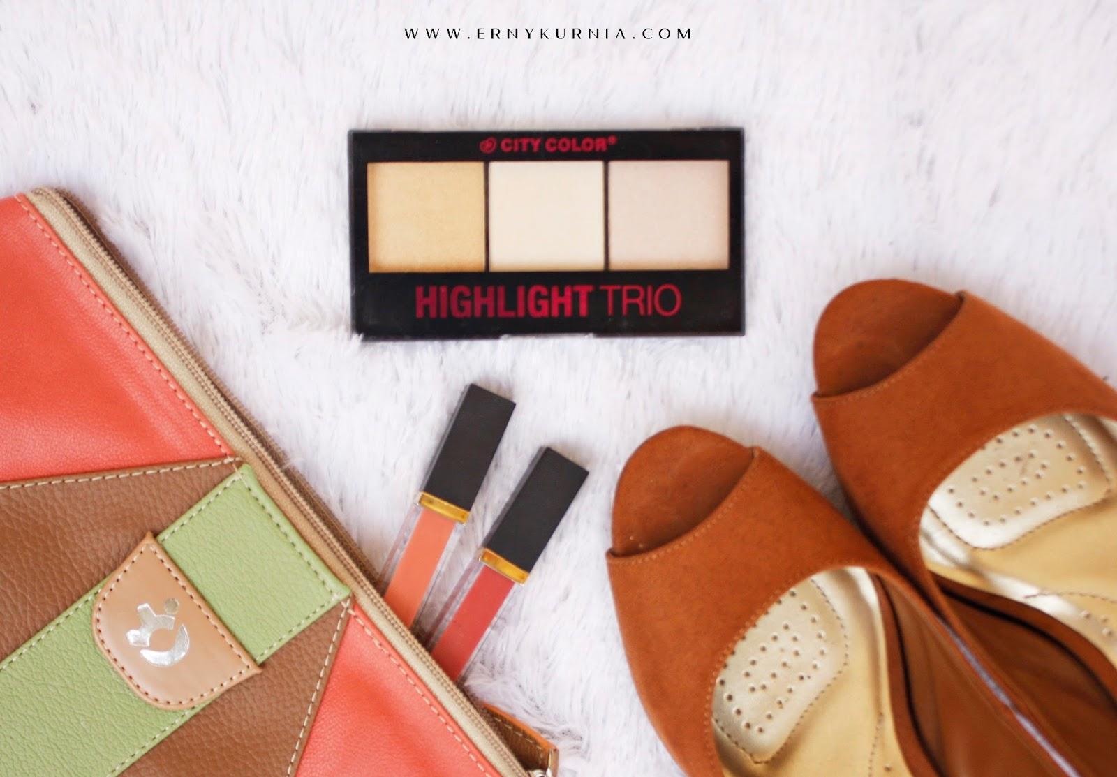 City Color Trio Highlighter, Erny Kurnia, Erny Kurnia Review, Review Highlighter, Highlighter murah,