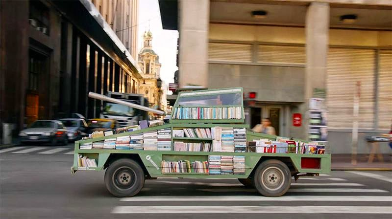 "Argentinian artist Raul Lemesoff created a bizarre tank-shaped an open air bookmobile ""weapons of mass instruction"" a significance to use to battle ignorance and spread knowledge."