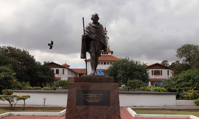 A statue of Indian independence leader Mahatma Gandhi in Accra, Ghana. The statue at the university was removed in the middle of the night leaving a bare plinth.