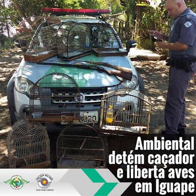 Policia Ambiental prende caçador com armas de caça, armadilhas e aves da fauna silvestre em Iguape