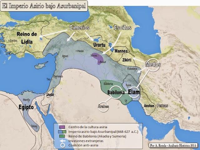 Resultado de imagen de imperio asirio asurbanipal II mapa
