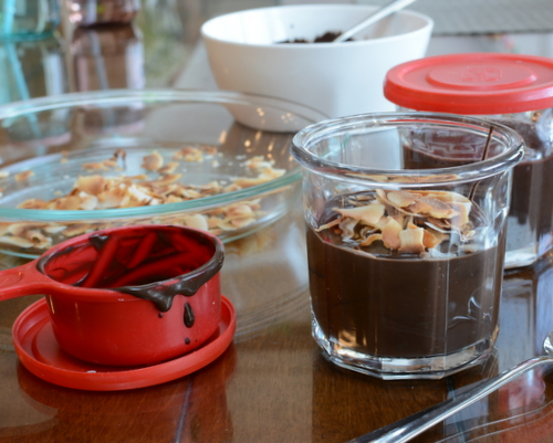 Easy-Easy Chocolate Coconut Pudding ♥ KitchenParade.com, just five pantry ingredients and ten minutes. Pudding Prep, anyone?