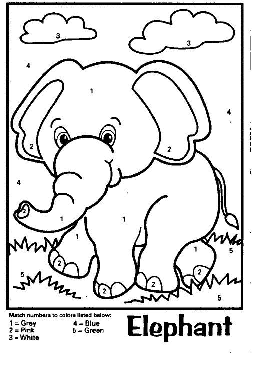 Tranh cho bé tô màu theo số chủ đề con voi và đám mây