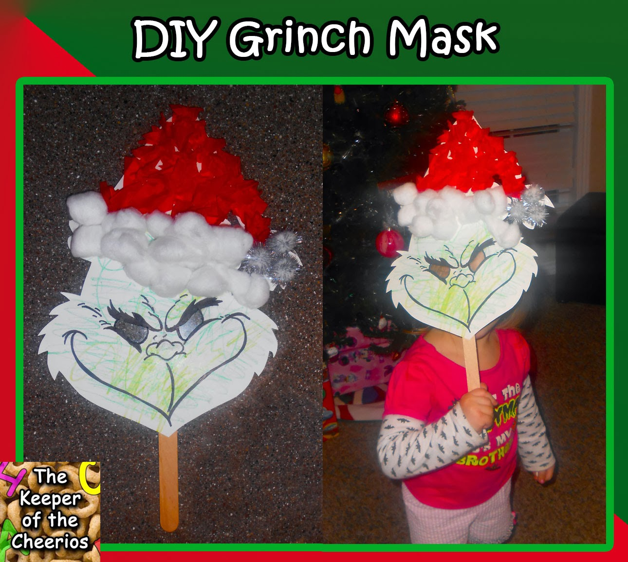 Christmas Party Paper Games: DIY Kids Grinch Mask