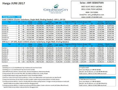 Harga Bukit Cordia Citra Indah City JUNI 2017