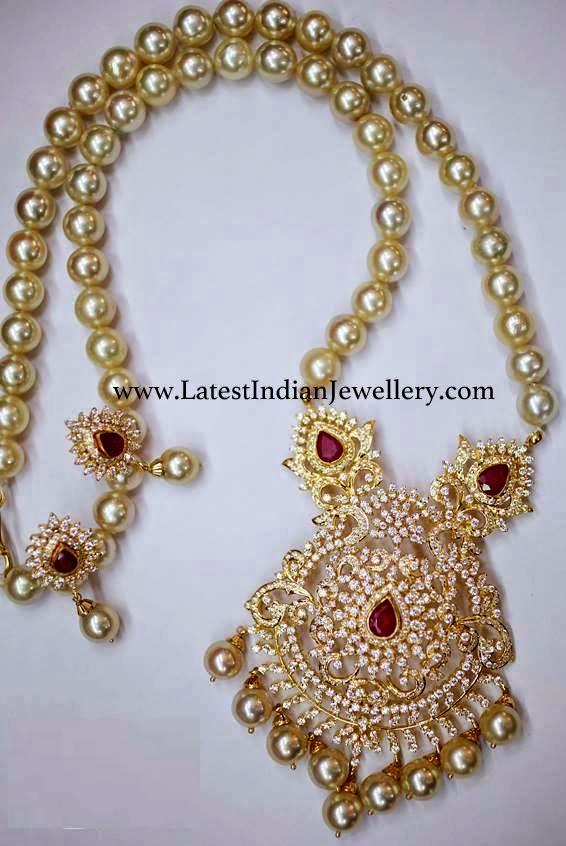 Cz Pendant Pearls Mala Latest Indian Jewellery Designs