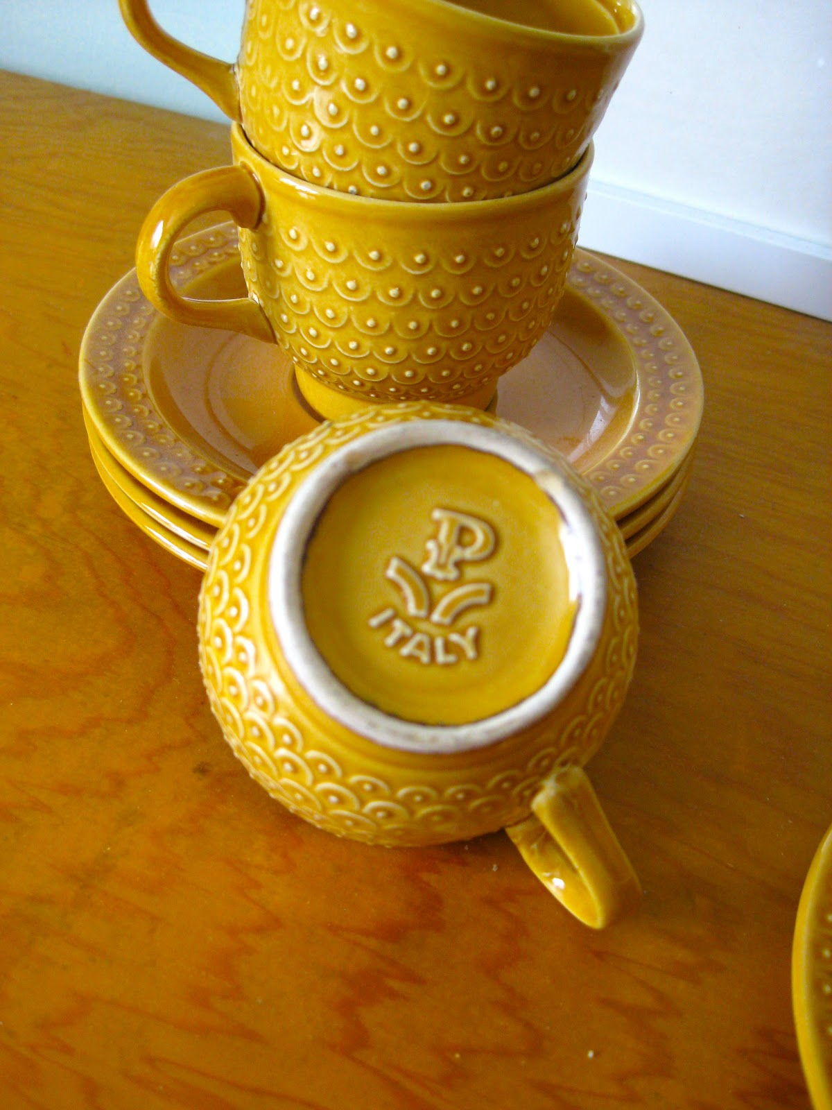 Sold Mustard Yellow Espresso Cups And Saucers 20