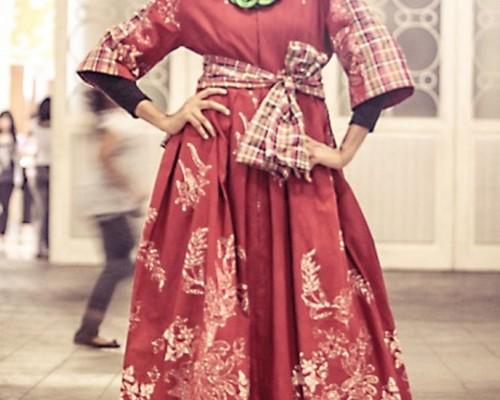 model baju gaun batik panjang